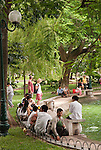 Hanoi, Vietnam, The park around Hoan Kiem Lake in central Hanoi attracts both local and foreign visitors. photo taken July 2008.