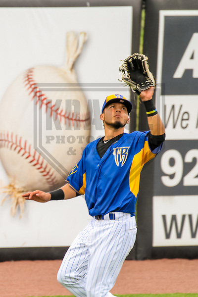 Wisconsin Timber Rattlers outfielder Joantgel Segovia (5) during a Midwest League game against the Kane County Cougars on June 11, 2017 at Fox Cities Stadium in Appleton, Wisconsin.  Kane County defeated Wisconsin 6-4. (Brad Krause/Krause Sports Photography)