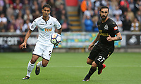 Kyle Naughton of Swansea City is marked by Jesus Gamez of Newcastle United during the Premier League match between Swansea City and Newcastle United at The Liberty Stadium, Swansea, Wales, UK. Sunday 10 September 2017