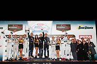 #77 Mazda Team Joest Mazda DPi, P: Oliver Jarvis, Tristan Nunez, Lucas Di Grassi, #10 Wayne Taylor Racing Cadillac DPi, P: Renger van der Zande, Jordan Taylor, Ryan Hunter-Reay, #55 Mazda Team Joest Mazda DPi, P: Jonathan Bomarito, Marino Franchitti, Spencer Pigot, podium