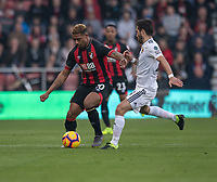 Wolverhampton Wanderers' Joao Moutinho (right) battles with Bournemouth's Jordon Ibe (right) <br /> <br /> Photographer David Horton/CameraSport<br /> <br /> The Premier League - Bournemouth v Wolverhampton Wanderers - Saturday 23 February 2019 - Vitality Stadium - Bournemouth<br /> <br /> World Copyright © 2019 CameraSport. All rights reserved. 43 Linden Ave. Countesthorpe. Leicester. England. LE8 5PG - Tel: +44 (0) 116 277 4147 - admin@camerasport.com - www.camerasport.com