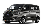 Stock pictures of low aggressive front three quarter view of a 2018 Ford Tourneo Custom Sport 5 Door Passenger Van