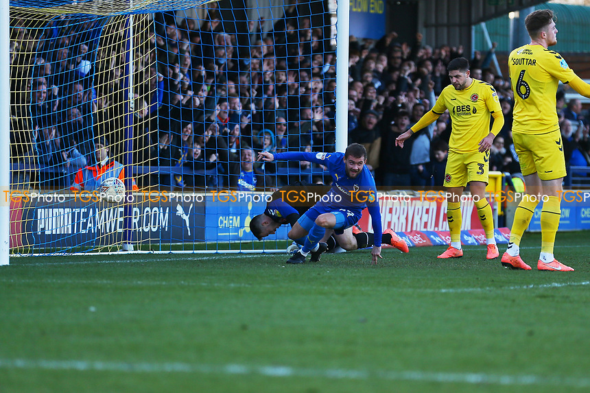 Shane McLoughlin of AFC Wimbledon scores the first goal for his team and celebrates during AFC Wimbledon vs Fleetwood Town, Sky Bet EFL League 1 Football at the Cherry Red Records Stadium on 8th February 2020