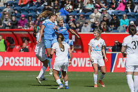 Bridgeview, IL - Saturday April 22, 2017: Sofia Huerta, Julie Ertz during a regular season National Women's Soccer League (NWSL) match between the Chicago Red Stars and FC Kansas City at Toyota Park.