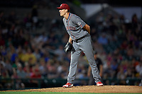 Lehigh Valley IronPigs relief pitcher Tom Windle (27) looks in for the sign during a game against the Rochester Red Wings on June 29, 2018 at Frontier Field in Rochester, New York.  Lehigh Valley defeated Rochester 2-1.  (Mike Janes/Four Seam Images)