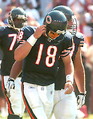 Landover, Maryland - September 11, 2005 -- Chicago Bears rookie quarterback Kyle Orton (18) leaves the field after a costly 4th quarter fumble during the game against the Washington Redskins at FedEx Field in Landover, Maryland on September 11, 2005.  The Redskins won the game 9 -7..Credit: Ron Sachs / CNP