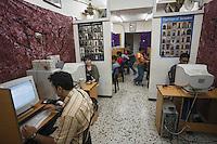 Asie/Israël/Judée/Jérusalem:Jeu en réseau dans un Cyber café de Jérusalem