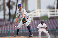 Mark Appel #28 of the Lancaster JetHawks pitches against the Inland Empire 66ers at San Manuel Stadium on April 23, 2014 in San Bernardino, California. Inland Empire defeated Lancaster, 4-3. (Larry Goren/Four Seam Images)