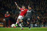 Marcos Rojo of Manchester United and Roberto Firminho of Liverpool during the UEFA Europa League match at Old Trafford. Photo credit should read: Philip Oldham/Sportimage