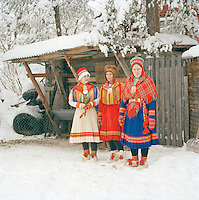 A Sami family in Gakti, traditional dress, in Lapland, Sweden
