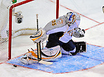 24 January 2009: Nashville Predators' goaltender Pekka Rinne makes a skate save for the NHL rookies in the Youngstars Game where the rookies defeated the sophomore 9-5 in the NHL SuperSkills Competition, part of the All-Star Weekend at the Bell Centre in Montreal, Quebec, Canada. ***** Editorial Sales Only ***** Mandatory Photo Credit: Ed Wolfstein Photo