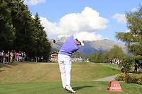 Matthew Fitzpatrick (ENG) tees off the 18th tee during Sunday's Final Round 4 of the 2018 Omega European Masters, held at the Golf Club Crans-Sur-Sierre, Crans Montana, Switzerland. 9th September 2018.<br /> Picture: Eoin Clarke | Golffile<br /> <br /> <br /> All photos usage must carry mandatory copyright credit (&copy; Golffile | Eoin Clarke)