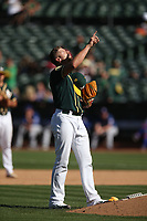OAKLAND, CA - SEPTEMBER 8:  Blake Treinen #39 of the Oakland Athletics pauses behind the mound before pitching in the top of the 9th inning against the Texas Rangers during the game at the Oakland Coliseum on Saturday, September 8, 2018 in Oakland, California. (Photo by Brad Mangin)