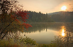 Idaho, North Central, Elk River. Early Autumn sunrise over Elk Creek Reservoir.