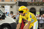 Race leader Yellow Jersey Alberto Contador (ESP) Astana before the start Stage 18 of the Tour de France 2009 an individual time trial running 40.5km around Lake Annecy, France. 23rd July 2009 (Photo by Eoin Clarke/NEWSFILE)