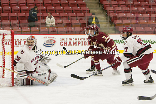 Emerance Maschmeyer (Harvard - 38), Meghan Grieves (BC - 17), Briana Mastel (Harvard - 17) - The visiting Boston College Eagles defeated the Harvard University Crimson 2-0 on Tuesday, January 19, 2016, at Bright-Landry Hockey Center in Boston, Massachusetts.