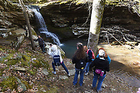 NWA Democrat-Gazette/FLIP PUTTHOFF <br /> Hikers get their photos taken April 12 2019 at Magnolia Falls. The waterfall is one of three close together in the Buffalo River country south of Boxley.