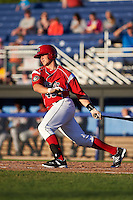 Batavia Muckdogs designated hitter Korey Dunbar (43) at bat during a game against the Mahoning Valley Scrappers on June 23, 2015 at Dwyer Stadium in Batavia, New York.  Mahoning Valley defeated Batavia 11-2.  (Mike Janes/Four Seam Images)