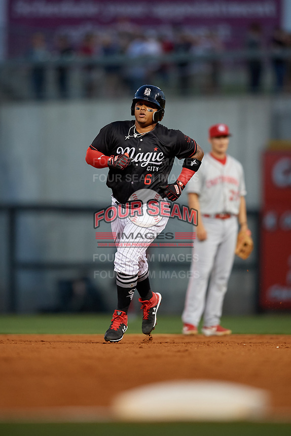 Birmingham Barons Yermin Mercedes (6) rounds the bases after hitting a home run during a Southern League game against the Chattanooga Lookouts on May 2, 2019 at Regions Field in Birmingham, Alabama.  Birmingham defeated Chattanooga 4-2.  (Mike Janes/Four Seam Images)