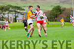 Marc Ó Sé, An Ghaeltacht, in possession of the ball closely watched by Castlegregory Gearóid Mac Gearailt during the West Kerry Championship match in Pairc an Aghasaigh, Dingle, on Sunday afternoon.
