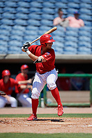 Clearwater Threshers Ben Aklinski (15) during a Florida State League game against the Florida Fire Frogs on April 24, 2019 at Spectrum Field in Clearwater, Florida.  Clearwater defeated Florida 13-1.  (Mike Janes/Four Seam Images)