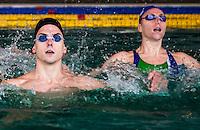 Giorgio Minisini (sx); Manila Flamini (dx) <br /> Duo misto sincro Italia<br /> Nuoto Sincronizzato - Synchronised Swimming<br /> Roma Centro Federale Pietralata 10 dicembre 2014<br /> Photo Rita Pannunzi/Deepbluemedia