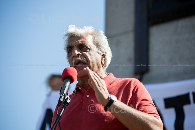 Tariq Ali (Historian, novelist, journalist, filmmaker, activist).<br /> <br /> London, 31/08/2013. Stop The War Coalition and CND (Campaign for Nuclear Disarmament) organised a demonstration in central London against the imminent western attack on Syria. Thousands of people marched from Temple, through Parliament Square and Whitehall, and ending in Trafalgar Square to demand that the US, France and other allies do not launch their planned bombing attack against Syria. On the night of Thursday 29th August the British House of Commons rejected (285 &ndash; 272) David Cameron&rsquo;s proposal of possible UK military action against Syrian President Bashar al-Assad's government which is accused to have used chemical weapons against its own people.