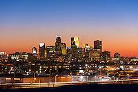 Minneapolis, Minnesota skyline at dusk from north.