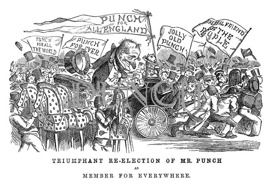 Triumphant Re-election of Mr Punch as Member for Parliament.
