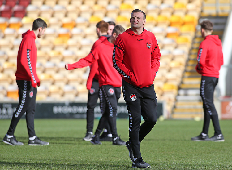 The Fleetwood Town players inspect the pitch before kick off<br /> <br /> Photographer David Shipman/CameraSport<br /> <br /> The EFL Sky Bet League One - Bradford City v Fleetwood Town - Saturday 9th February 2019 - Valley Parade - Bradford<br /> <br /> World Copyright © 2019 CameraSport. All rights reserved. 43 Linden Ave. Countesthorpe. Leicester. England. LE8 5PG - Tel: +44 (0) 116 277 4147 - admin@camerasport.com - www.camerasport.com