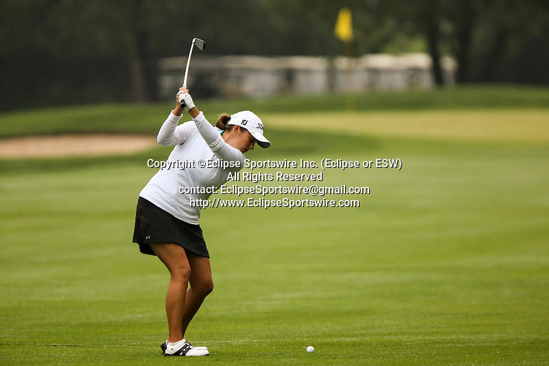 Canada's Sara-Maude Juneau used an iron on the first fairway at the LPGA Championship at Locust Hill Country Club in Pittsford, NY on June 7, 2013