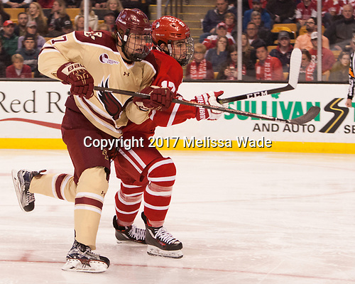 Graham McPhee (BC - 27), Dante Fabbro (BU - 17) - The Boston University Terriers defeated the Boston College Eagles 3-1 in their opening Beanpot game on Monday, February 6, 2017, at TD Garden in Boston, Massachusetts.