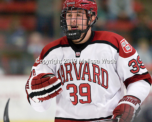 Brian Hart (Harvard - 39) - The Harvard University Crimson defeated the visiting Bentley University Falcons 5-0 on Saturday, October 27, 2012, at Bright Hockey Center in Boston, Massachusetts.