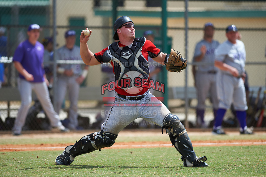 Edgewood College Eagles Garrett Bogucki (25) throws down to second base during a game against the New York University Violets on March 14, 2017 at Terry Park in Fort Myers, Florida.  NYU defeated Edgewood 12-7.  (Mike Janes/Four Seam Images)