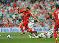 10th August 2013; Jose Enrique, Liverpool, in action against Bahrudin Atajic and Dylan McGeouch, Glasgow Celtic. Pre-season Friendly, Liverpool v Celtic, Dublin Decider, Aviva Stadium, Dublin. Picture credit: Tommy Grealy/actionshots.ie.