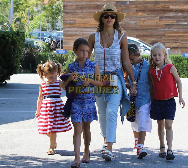 Malibu CA July 4: Jessica Alba enjoys the fourth of July with family in Malibu. Her daughter was wearing festive clothing to celebrate the day.  <br /> CAP/MPI/JM<br /> &copy;JM/MediaPunch/Capital Pictures