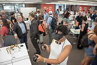 VR demo by Aneesah Ettress, Mellon Post-baccalaureate Fellow Undergraduate Research, Academic Department Information Fair in the Academic Commons. Incoming first-years and their families are welcomed by O-Team members and the community at the start of Occidental College's Fall Orientation for the class of 2021, Aug. 24, 2017.<br /> (Photo by Marc Campos, Occidental College Photographer)