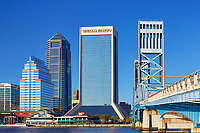 Downtown Jacksonville buildings and Main Street bridge