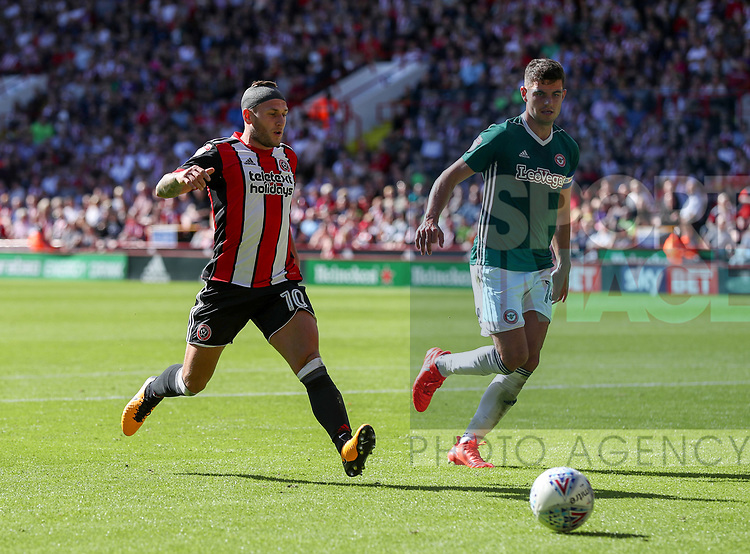 Billy Sharp of Sheffield Utd in action during the English championship league match at Bramall Lane Stadium, Sheffield. Picture date 5th August 2017. Picture credit should read: Jamie Tyerman/Sportimage