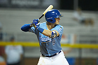Jake Means (9) of the Burlington Royals at bat against the Danville Braves at Burlington Athletic Stadium on August 9, 2019 in Burlington, North Carolina. The Royals defeated the Braves 6-0. (Brian Westerholt/Four Seam Images)