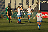 Portland, OR - Sunday March 11, 2018: Yuki Nagasato, Alyssa Mautz celebrate Arin Gilliland's goal  during a National Women's Soccer League (NWSL) pre season match between the Portland Thorns FC and the Chicago Red Stars at Merlo Field.