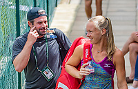 London, England, 10 th. July, 2018, Tennis,  Wimbledon, Practise courts: Kiki Bertens (NED) and her coach Raemon Sluiter (NED)<br /> Photo: Henk Koster/tennisimages.com