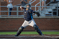 Wilmington Blue Rocks catcher Chase Vallot (13) makes a throw to second base between innings of the game against the Buies Creek Astros at Jim Perry Stadium on April 29, 2017 in Buies Creek, North Carolina.  The Astros defeated the Blue Rocks 3-0.  (Brian Westerholt/Four Seam Images)