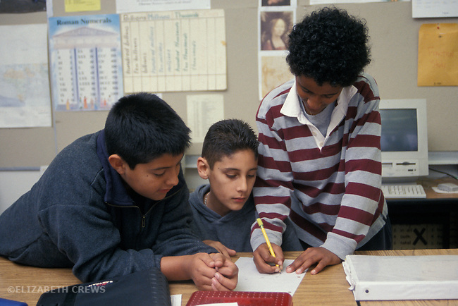 Berkeley, CA  Students in fifth grade classroom working on writing project together in small group  MR