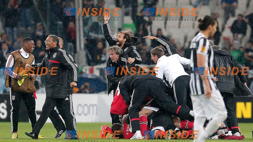 Celebration Benfica, Torino 1-5-2014, Juventus Stadium, Football Calcio 2013/2014 Europe League, Juventus - Benfica, Foto Marco Bertorello/Insidefoto