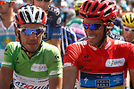 Joaquin Purito Rodriguez (l) and Alberto Contador before the stage of La Vuelta 2012 beetwen Penafiel-La Lastrilla.September 7,2012. (ALTERPHOTOS/Paola Otero)