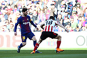 18th March 2018, Camp Nou, Barcelona, Spain; La Liga football, Barcelona versus Athletic Bilbao; Lionel Messi of FC Barcelona is beaten to the ball by Óscar de Marcos