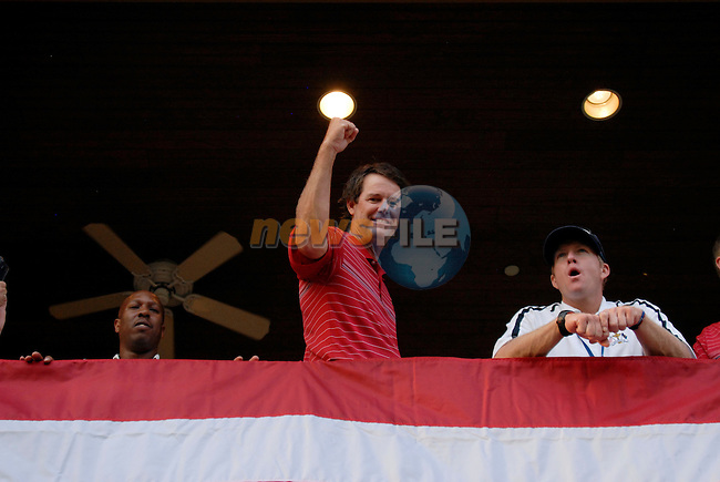 Captain Paul Azinger leads the celebrations at the clubhouse victory over Europe after the Singles on the Final Day of the Ryder Cup at Valhalla Golf Club, Louisville, Kentucky, USA, 21st September 2008 (Photo by Eoin Clarke/GOLFFILE)