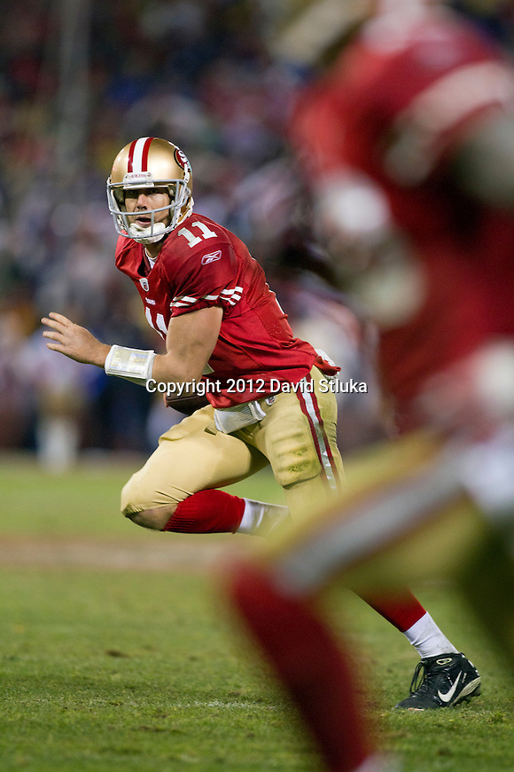 San Francisco 49ers quarterback Alex Smith (11) runs out of the pocket during an NFC Championship NFL football game against the New York Giants on January 22, 2012 in San Francisco, California. The Giants won 20-17 in overtime. (AP Photo/David Stluka)