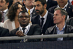 Marcel Desailly and Jamie Carragher watch on during the UEFA Champions League Final match between Juventus and Real Madrid at the Principality Stadium on June 3rd 2017 in Cardiff, Wales.